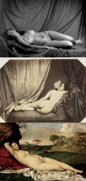 (De arriba a abajo) Rafael Galván, fotografía espuesta en Revisiones IV: el cuerpo en la fotografía, 2014. Auguste Belloc, Nude, 1856- 1860. Giorgione, Venus dormida, 1507- 1510.