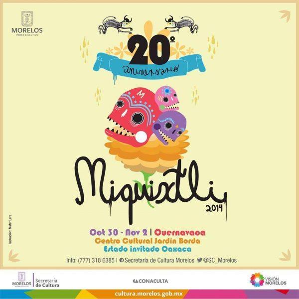 Cartel oficial del Festival Miquixtli 2014, ilustraciones de la artista morelense Mafer Lara.